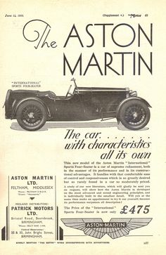 Vintage Car Ads - Our classic cars Classic Cars British, British Sports Cars, Best Classic Cars, Aston Martin Lagonda, Aston Martin Cars, Vintage Cars, Antique Cars, Vintage Items, Vintage Advertisements