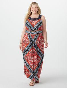 acf3ec3162a5 Plus Size Geometric Floral Maxi Dress