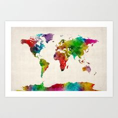 Watercolor Map of the World Map Art Print by ArtPause This artist also did the other colorful world map that looks more like paint splatters.