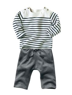 Baby Boy Sailor top & trousers outfit STRIPE - GREY MARL+GREY DARK STRIPED
