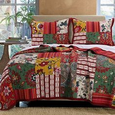 French Country Cottage Bedding Patchwork Stripes Floral Patchwork Red Green Gold 100% Cotton Reversible Quilt and Shams Set