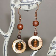 Brown Shell Brown Wood Bead Column Antique by MoonRoseDesign