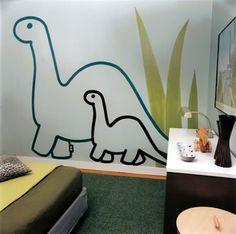 Custom dinosaur canvas wall art and decals in a kids for Decoracion de recamaras infantiles