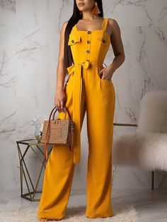 Casual Buttons Decorative One-piece Jumpsuit (With Belt) Trend Fashion, Fashion Pants, Fashion Outfits, Womens Fashion, Fashion Fall, Style Fashion, Off Shoulder Jumpsuit, Jumpsuit With Sleeves, Yellow One Piece