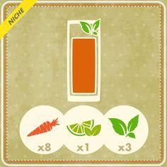 8 carote, 1 lime intero sbucciato, 3 foglie di menta fresca e 1 pizzico di zucchero di canna: ecco gli ingredienti per una centrifuga golosa e allo stesso tempo ideale per tonificare, rendere la pelle sana, rinforzare le ossa e proteggersi dai radicali liberi.