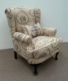Traditional Wingback Chair love the amount of padding on this chair---wings, arms and pillow look so cushy! Furniture, Wing Chair Upholstery, Chair Cushions, Wingback Chair, Furniture Upholstery, Rocking Chair Cushions, Trending Decor, Upholstery, Black Dining Room Chairs