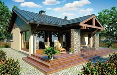 Locuinte pentru o familie cu un copil - Case practice Small House Plans, House Floor Plans, Custom Home Designs, Custom Homes, Small Bungalow, Rural House, Story House, Traditional House, Modern