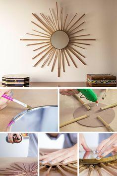 Espejo decorado con bambú ➜ Con un poco de pintura y palos de bambú, puedes crear tu propio espejo decorado inspirado en el estilo Art Decó.  #DIY #Decoración #Manualidades #Espejos #Bambú #ArtDecó