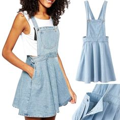 Womens Retro Washed Casual Blue Denim Overall Jumper Dress Skater Jean Skirt. This looks casual and kind of comfy. Skater Jeans, Skater Skirt, Girly Outfits, Skirt Outfits, Cool Outfits, Fashion Outfits, Dress Fashion, Fashion Clothes, Denim Jeans