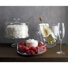 Footed Cake Stand with Dome - Crate and Barrel Kitchen Jars, Kitchen Items, Kitchen Gadgets, Kitchen Interior, Kitchen Decor, Dessert Presentation, Cake Stand With Dome, Champagne Buckets, Glass Cakes