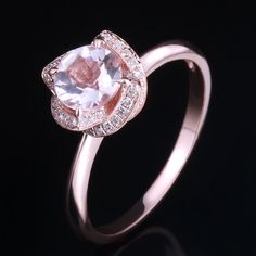 Diamonds 10K Rose Gold 6.5mm Round Cut Halo Pink Morganite Engagement Ring  #Unbranded #MorganitewithDiamonds