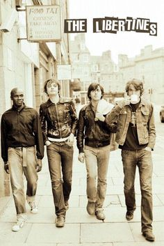 Music posters - Libertines posters: Rare Libertines poster featuring a shot of The Libertines, walking down the road. This Libertines poster features Pete Doherty, Carl Barat, Gary Powell & John Hassall. Rock Roll, Carl Barat, Pete Doherty, Babe, The Libertines, British Rock, Britpop, Band Posters, Music Posters