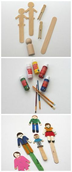 Painted craft clothespin people.