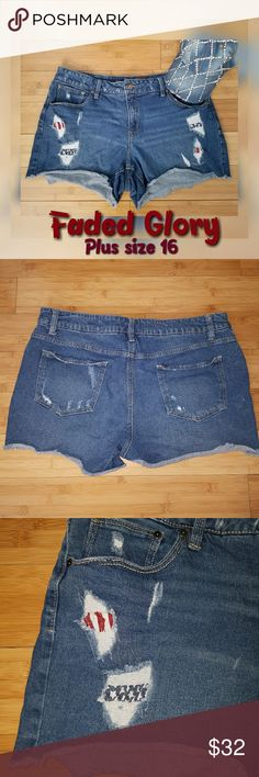 """FADED GLORY Plus Sz Cut Off Distressed Jean Short They are darling.  The inside has patches of red, white and blue that is shown thriugh the front ripped areas. Perfect for any warm day, but you ded can rock these on the 4th of July.   Great preloved condition  Plus size 16 Waist 36"""" Hips 42"""" Length 12"""" ( short shorts) 😊  Stop by my closet for more great fashion itens and bundle for less. I have many other fashionable plus size clothing in my closet. Dont miss out. Faded Glory Shorts Jean…"""