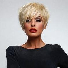 Short Straight Side Bang Fluffy Human Hair Spiffy Fashion Capless Wig For Women