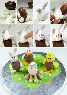 bunny egg - tutorial Easter Candy, Easter Treats, Easter Eggs, Chocolate Bark, Easter Chocolate, Fondant Figures, Sewing Cake, Chocolates, Creme Egg
