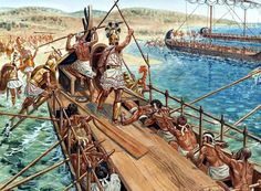 """Mycenaean warriors disembark their """"black ships"""", as described by Homer, in the Iliad, on the beaches near Troy. ~ art by Guiseppe Rava ~ though this is supposed to illustrate the warriors of the Iliad, 1150 B.C., it actually illustrates the warriors of Homer's time, Geometric Greece 900-700 B.C., judging by the armour and patterns they wear."""