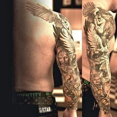 Full sleeve tattoos catch more eyes than their smaller counterparts! A dragon sleeve tattoo reaches all the way around. Check out all these amazing designs! Angel Sleeve Tattoo, Dragon Sleeve Tattoos, Leg Tattoos, Tribal Tattoos, Tattoo Sleeves, Form Tattoo, Shape Tattoo, Tattoo Art, Wicked Tattoos