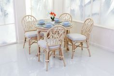 Oakham Dining Table with four Oakham Dining Chairs, Light Natural Wash, Douglas Cream