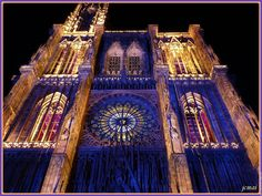 I lay on the ground watching the spectacular lights show on the cathedral walls in Strassbourg.