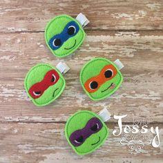 TMNT hair clips, turtle clips, green felt clips, girls hair clip, TMNT hair bow. by JoyfulJossyBowtique on Etsy