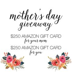 When was the last time your Mom SPLURGED on herself. Mine was FOREVER ago... maybe NEVER ago! ;) Score $250 for your Mom (or favorite Mom you know) and $250 for YOU. Super EASY entry. Ends Friday, April 17th