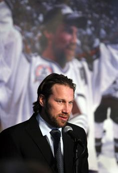 Colorado Avalanche Swedish forward Peter Forsberg announces his retirement from hockey during a news conference, Monday, Feb. 14, 2011