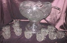 "EAPG 1-3/4 Gallon ""Aztec"" Punch Bowl Set, 11 punch cups/Crystal Punch Ladle"
