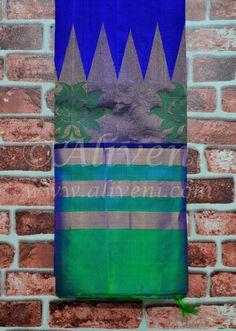 Indigo Blue Handwoven Saree with Green/Zari Kuppadam Temple Borders