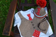 NEW Sock Monkey Birthday Outfit  Tie and Vest by CoutureForKids, $32.00