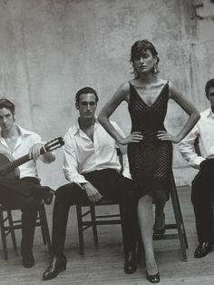 """Laura Ponte featured in the Vogue Spain editorial """"Escuela Flamenca"""", diciembre 1998."""
