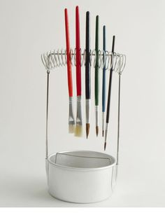 A cunning contraption for organizing paint brushes and water from our German friends at Redecker.