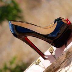 christian louboutin lady peep in black patent. #shoeporn