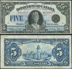 Canada $5 1924 - This issue, featuring a formal portrait of Queen Mary, offers an interesting history. Although the plates were prepared in 1924, and the note is dated May 26th in honor of the Queen's birthday, there was so little need for Dominion $5 bills that printing for this issue did not commence until 1931. Canadian Coins, I Am Canadian, Canadian History, Old Coins, Rare Coins, Old Money, Gold Bullion, Interesting History, Coin Collecting