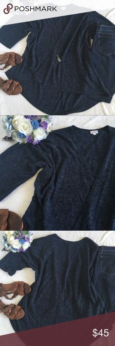 🆕LuLaRoe Lindsay knit short sleeve kimono Super comfy LuLaRoe Lindsay short sleeve knit kimono/cardigan. A beautiful deep heathered blue in a soft and comfy knit sweater like fabric. It's like a cardigan/kimono combo! Perfect for layering with dresses, tees, leggings etc! Great for spring! Excellent condition, like new. Size Medium. LuLaRoe Sweaters Cardigans