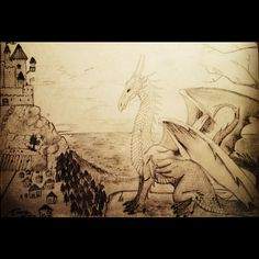 At the time I drew this I really wasn't good at landscapes but, I am still proud of my dragon, very Skyrim🐲🎮