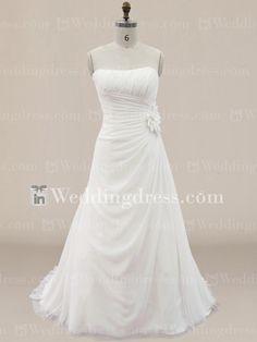 Simple Chiffon Draped Plus size Wedding Dress with Flower PS175N