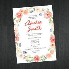 Flower Themed Baby Shower Invitations -  Baby Shower Invitations by MemorableImprints