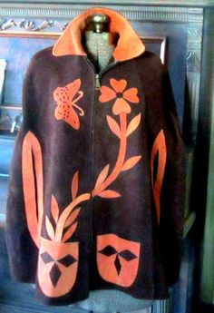 Vintage  Poncho Cape Suede with appliqued by nanascottagehouse, $75.00