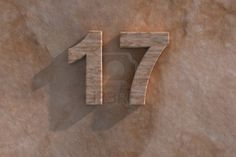 Number 17 embossed or carved from marble placed on a matching marble base Stock Photo