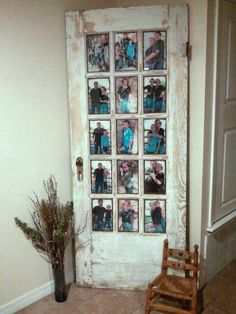 Dishfunctional Designs: New Takes On Old Doors: Salvaged Doors Repurposed Diy Home Decor, Rustic Picture Frames, Diy Picture Frames Collage, Window Pane Picture Frame, Door With Window, Old Window Panes, Distressed Picture Frames, Photo Frame Ideas, Wedding Picture Collages