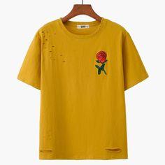 Rose Embroidered Short Sleeve Slashed T-Shirt