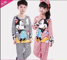 Hot Sale Spring And Autumn Kids Pajamas Set 100% Cotton Children's Sleepwear Long Sleeve Pijama For Girl And Boy