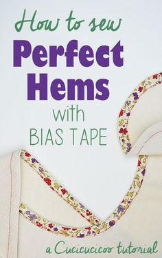 Do you hate measuring, pinning and ironing every time you sew a hem? Check out this wonderfully simple and quick alternative! Learn how to hem with bias tape to save time and frustration! www.cucicucicoo.com