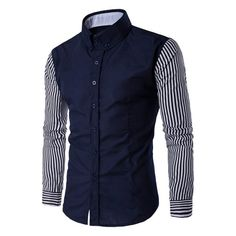 Tidebuy Stripe Patchwork Color Block Mens Casual Shirt top online fashion store for women. Shop sexy club jeans, shoes, bodysuits, skirts and more . Best Casual Shirts, Mens Casual Suits, Formal Shirts For Men, Stylish Shirts, Mens Kurta Designs, Mens Shirts Online, Shirt Shop, Mens Fashion, Deep Blue