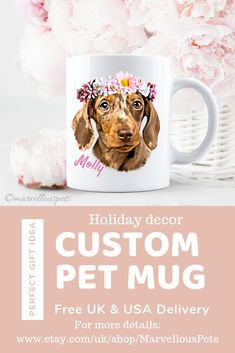 personalized dog mug custom pet mug Cat lover gift etsy pet coffee mug. Holding your favourite hot drink in your hands and looking at your pet's lovely face is a perfect moment. Check out these lovely pet mugs and get your own customized one. Please visi Dog Mom Gifts, Cat Lover Gifts, Gifts For Mom, Dog Memorial, Memorial Gifts, Dachshund Gifts, Pet Memorials, Dog Portraits, Your Pet