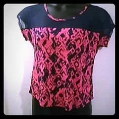 Sheer Shoulder top Pink & blue with blue sheer shoulder. Pretty design Tops Tees - Short Sleeve
