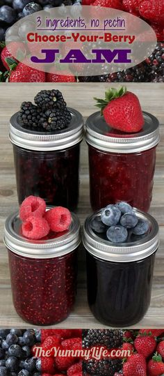 This simple 3-ingredient jam recipe works with any kind of fresh or frozen berry--no pectin required. Printable labels are provided to turn jam jars into awesome gifts. From TheYummyLife.com