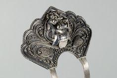 Silver Indian hairpin, Makara head (2)