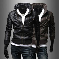 Funnel Neck Mens Fashion Leather Jacket . Shop Now At  http://sneakoutfitters.com/collections/new-in/products/funnel-neck-mens-fashion-leather-jacket-ao-cybb-db-727-so100